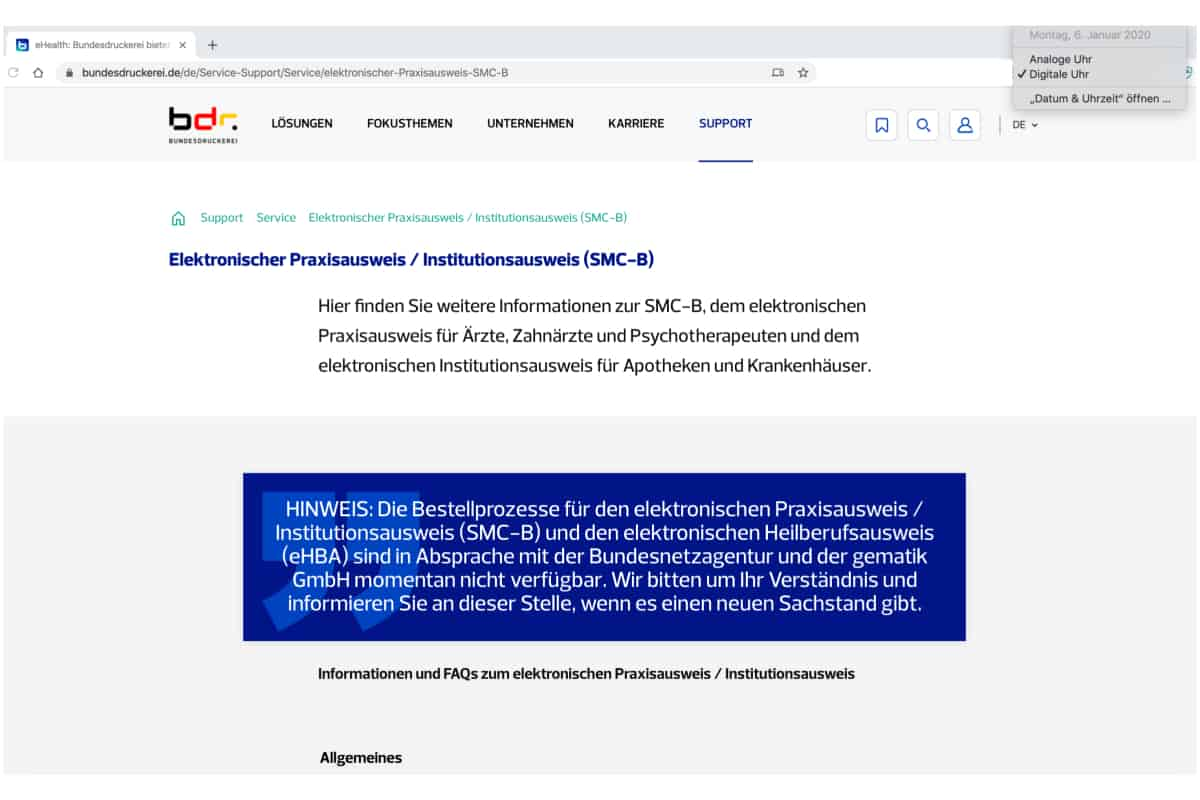 Screenshot der Bundesdruckerei